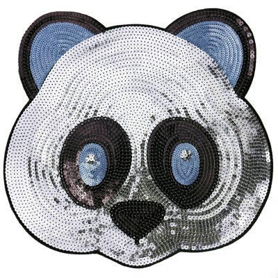 panda z cekinów na odzieży